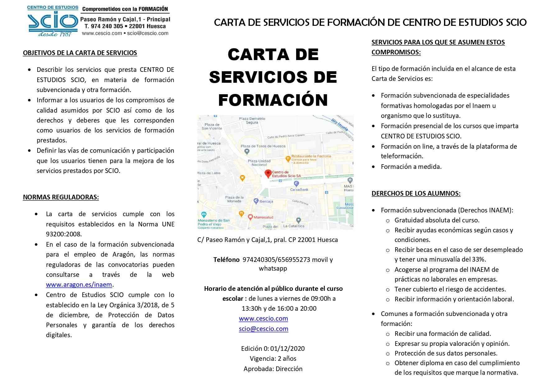 CARTA DE SERVICIOS FORMACION SCIO 0001